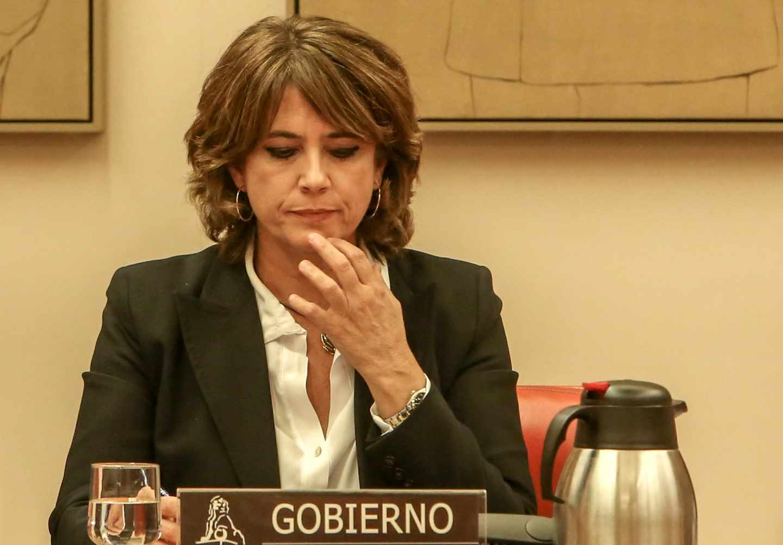 La ministra de Justicia, Dolores Delgado, en una comparecencia en el Congreso de los Diputados.
