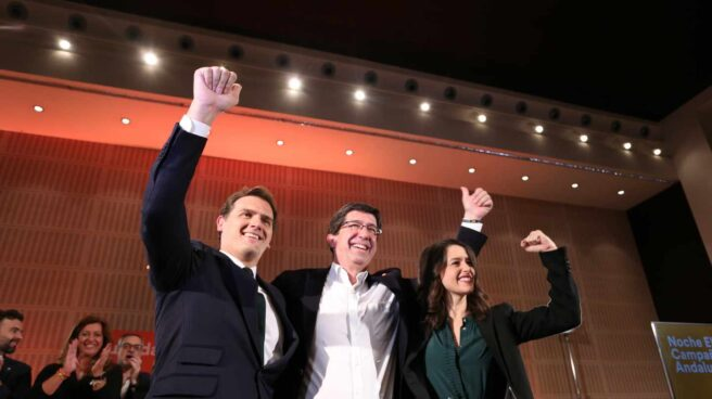 Albert Rivera, Juan Marín e Inés Arrimadas, celebrando el resultado electoral en Andalucía.