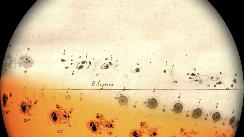 Dibujo de manchas de Hevelius en 1644 y de NASA de 2014