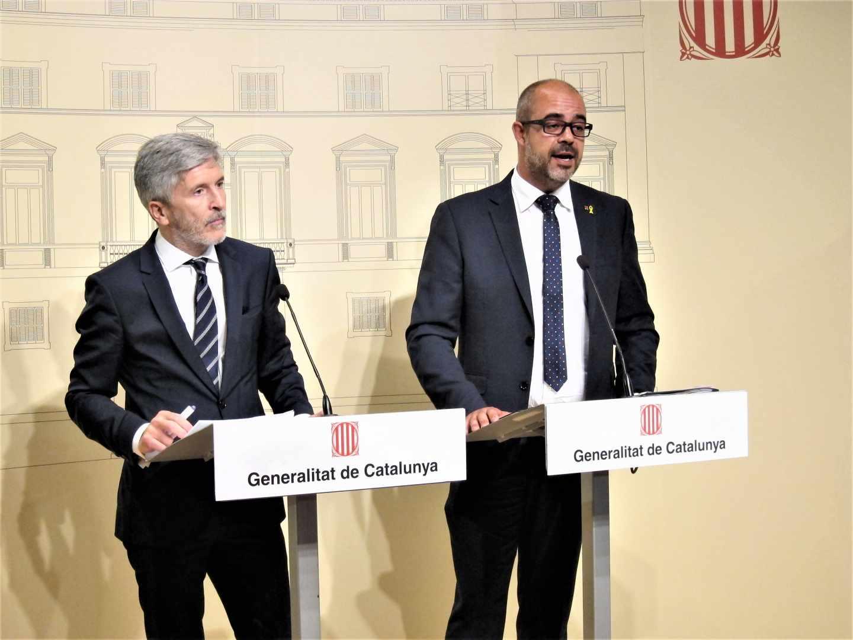 El ministro Fernando Grande-Marlaska y el 'conseller' de Interior, Miquel Buch, el pasado mes de septiembre en Barcelona.