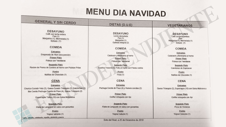 Detalle del menú que se servirá en Navidad en la prisión de Soto del Real, donde cumplen condena Rato y Bárcenas.
