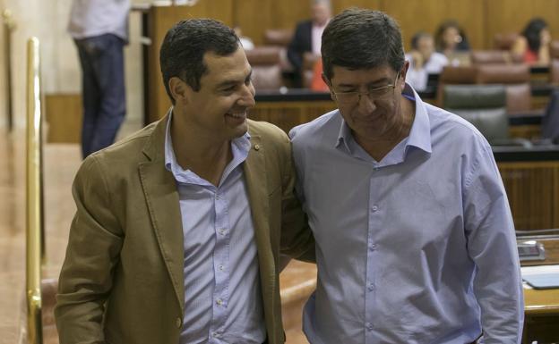 Juan Manuel Moreno y Juan Marín en una imagen de archivo
