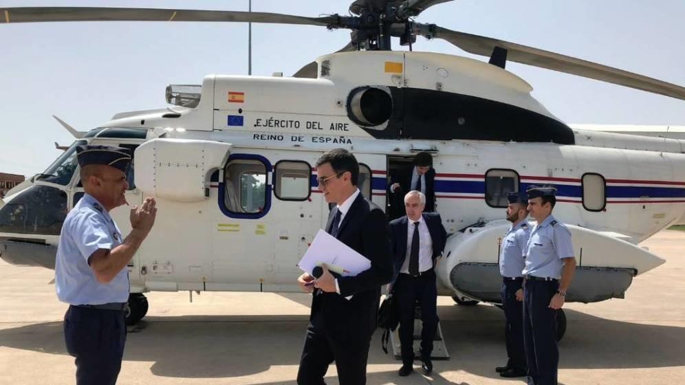 Pedro Sánchez, el pasado mes de noviembre en un traslado en helicóptero.