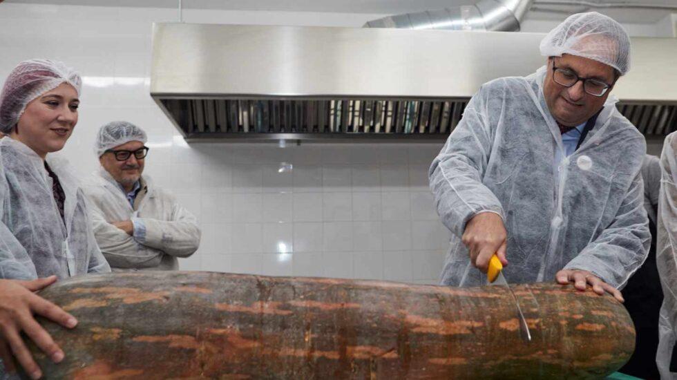 Quim Torra corta una enorme calabaza durante su visita a una empresa catalana.