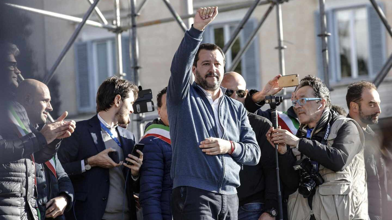 Matteo Salvini, durante un acto de la Liga Norte en la Piazza del Popolo, en Roma.