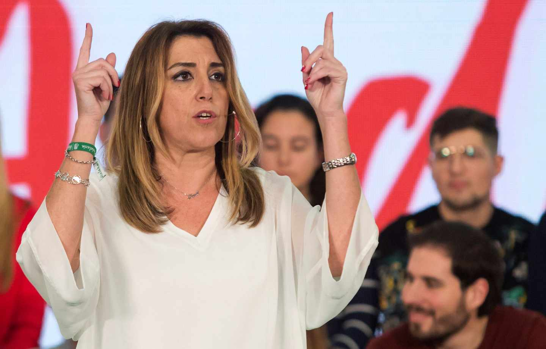 Susana Díaz, presidenta de la Junta de Andalucía en funciones, durante un acto en la última campaña electoral.