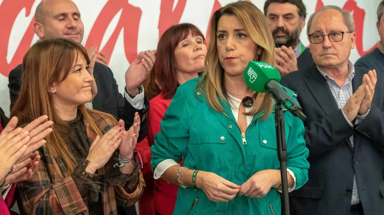 Susana Díaz, durante su comparecencia.