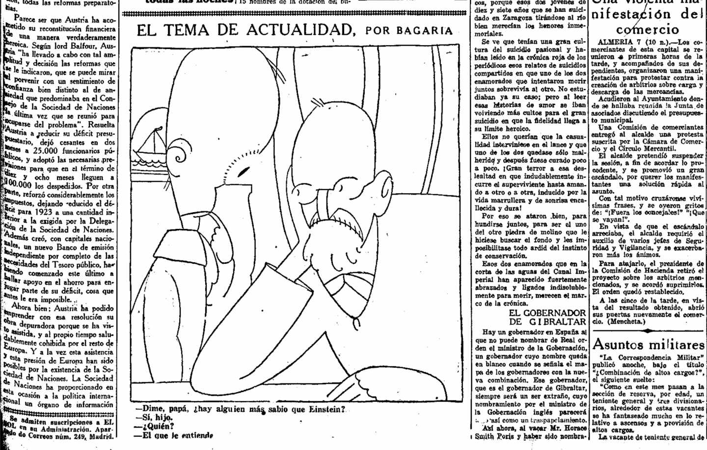 Viñeta de Bagaría de 1923 sobre Einstein