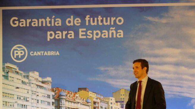 El presidente del PP, Pablo Casado, durante el acto de este mediodía en Santander.