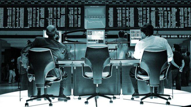 Operadores de la Bolsa de Sao Paulo.
