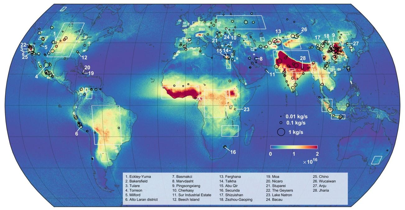 El mapa de concentraciones de amoniaco en atmósfera refleja 242 fuentes puntuales (círculos negros) y 178 zonas de emisión más grandes (rectángulos blancos).
