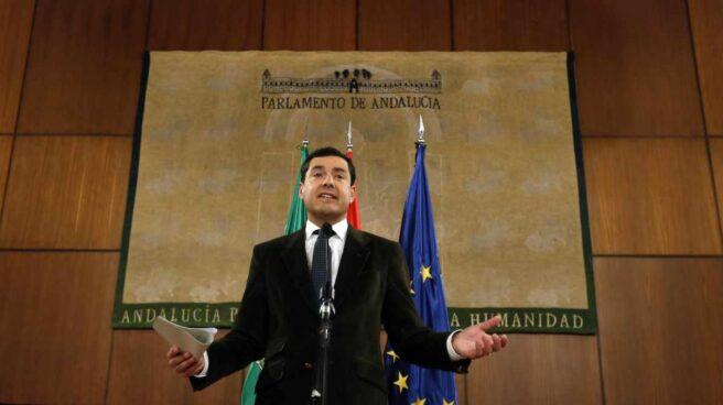Juan Manuel Moreno Bonilla, en una comparecencia en el Parlamento andaluz.