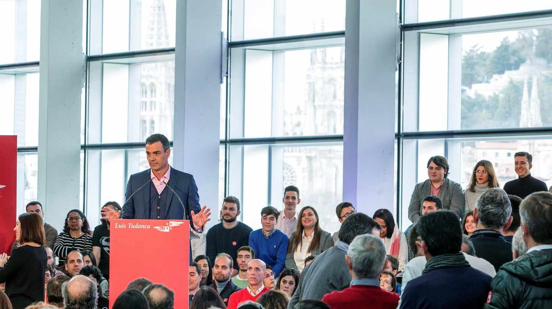 El presidente del Gobierno y secretario general del PSOE, Pedro Sánchez, durante su intervención en el acto de presentación de la candidatura de Luis Tudanca a la Presidencia de la Junta de Castilla y León.