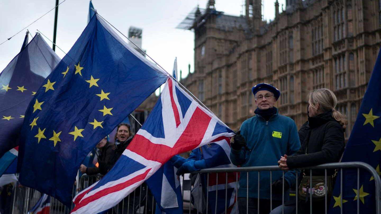 Manifestaciones en Londres por el Brexit junto al Parlamento.