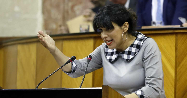 Teresa Rodríguez, en el debate de investidura en el Parlamento de Andalucía.