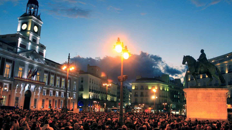 Concentración de taxistas en la Puerta del Sol.