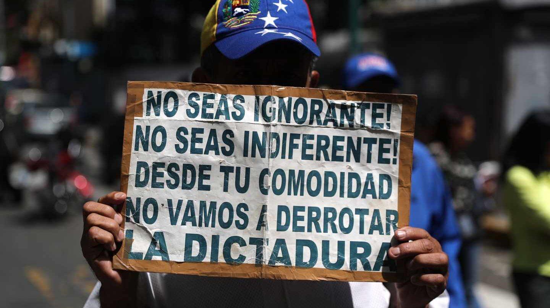 Manifestación contra la dictadura en Caracas.