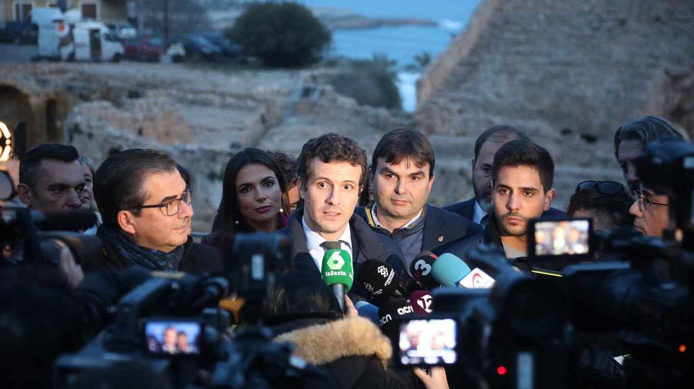 El líder del PP, Pablo Casado, este jueves en Tarragona