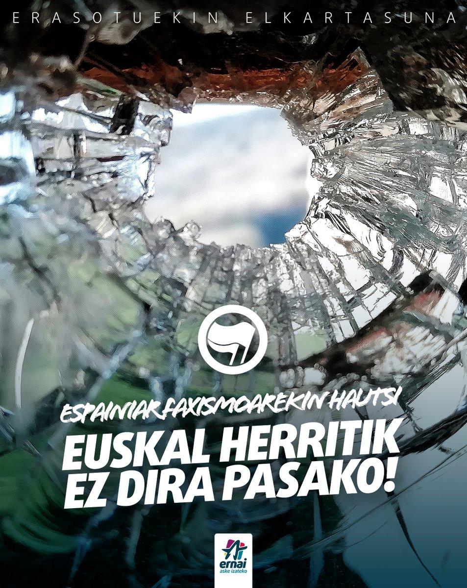 """Cartel del movimiento juvenil Ernai condenando el ataque en Amurrio, """"no pasarán por Euskal Herria""""."""