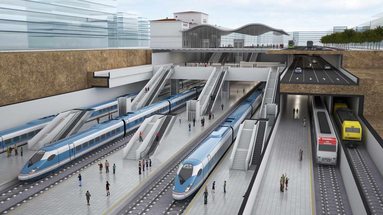 Recreación del proyecto de estación soterrada de Vitoria para acoger la alta velocidad.