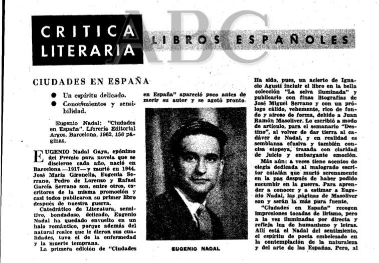Recorte de ABC de la hemeroteca digital sobre Ciudades en España de Eugenio Nadal