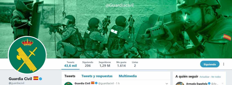 Perfil oficial de la Guardia Civil en Twitter.