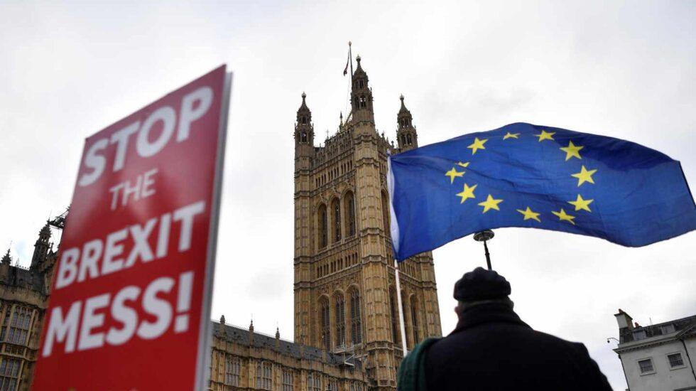 Manifeestación en contra del Brexit ante el Parlamento británico