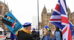 Un grupo de manifestantes pro europeístas ante el Parlamento británico.