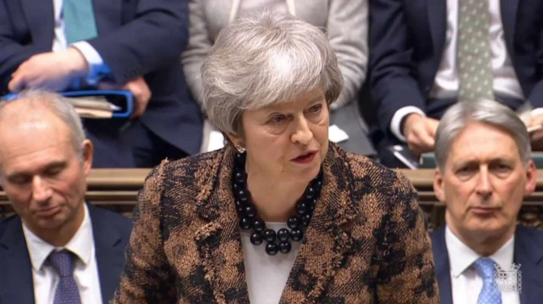 Theresa May, primera ministra británica, durante su declaración en el Parlamento.