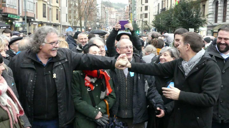 Joan Tardá y Arnaldo Otegi, en una manifestación a favor de los presos de Bilbao.