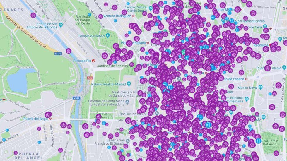 Alojamientos turísticos comercializados en Airbnb en el centro de Madrid.