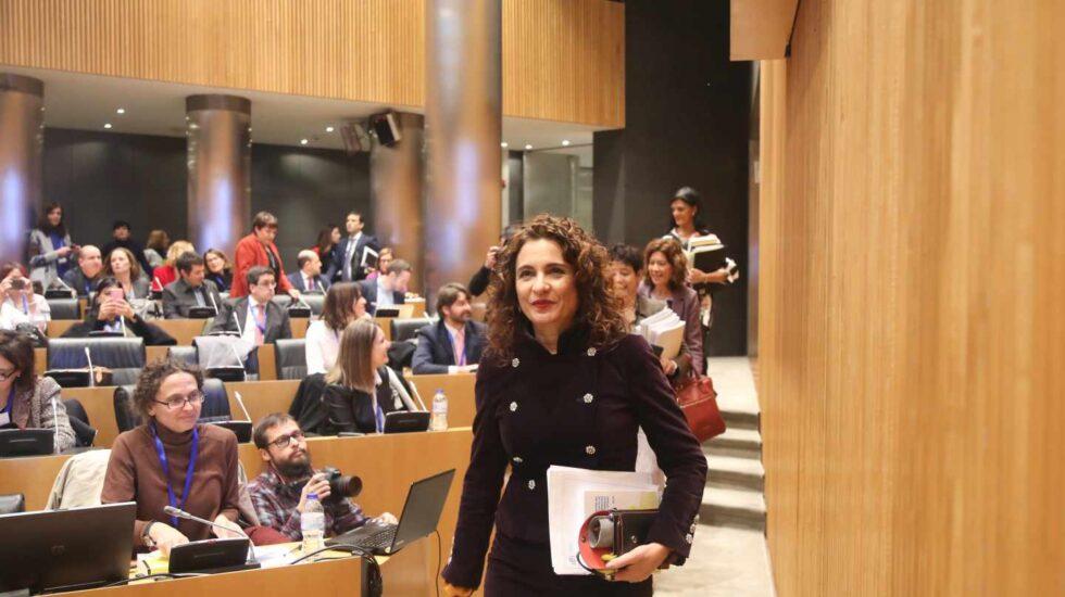 La ministra de Hacienda, María Jesús Montero, en la presentación de los Presupuestos de 2019.