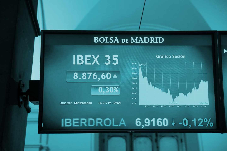 Pantallas de cotización de la Bolsa de Madrid.