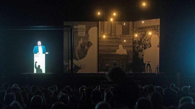 Holograma de Oriol Junqueras, en el acto organizado por ERC.