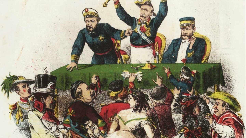 Caricatura que representa al general Francisco Serrano (en el centro), junto al almirante Juan Bautista Topete (izqda.) y el general Juan Prim (dcha.), subastando la Corona de España ante representantes de las principales monarquías europeas.