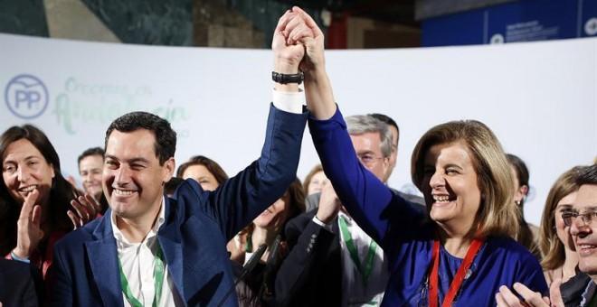 Juanma Moreno y Fátima Báñez durante la campaña electoral andaluza
