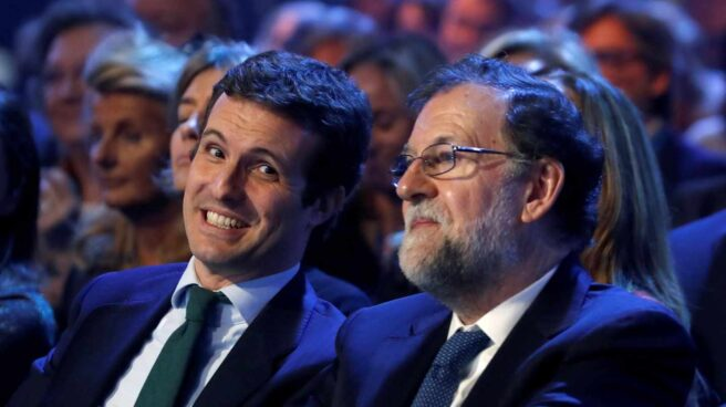 Pablo Casado, junto a Mariano Rajoy en la Convención Nacional del PP.