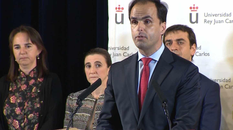 El rector de la URJC, Javier Ramos, durante una comparecencia informativa por el 'caso Máster'.