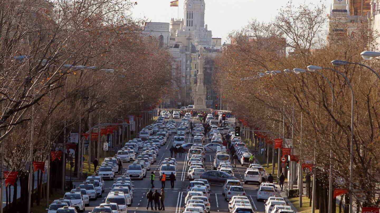 Los taxistas de Madrid, asentados en la Castellana.