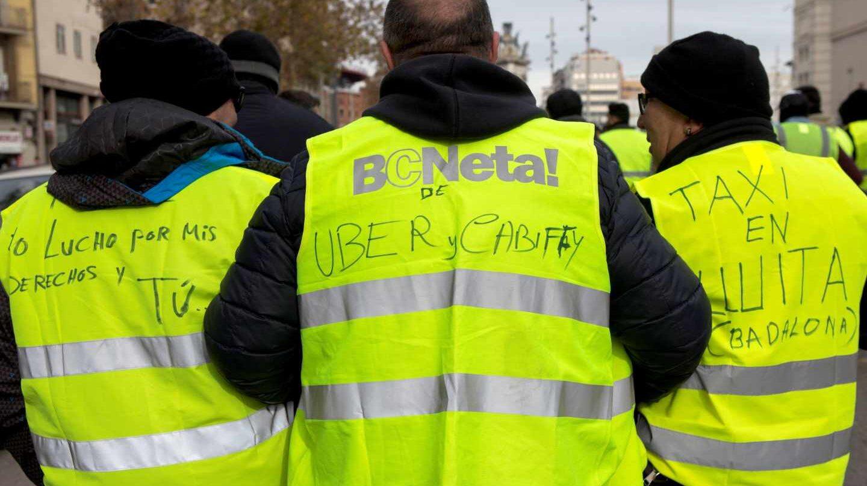 Taxistas en huelga en Barcelona.