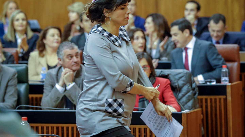 Teresa Rodríguez, en el pleno de investidura.