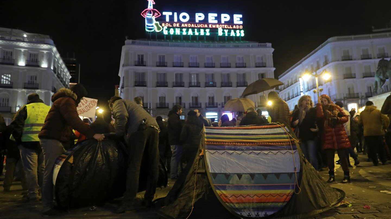 Protestas de taxistas en la Puerta del Sol.
