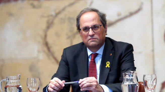 El presidente de la Generalitat, Quim Torra, durante la reunión extraordinaria del gobierno catalán.