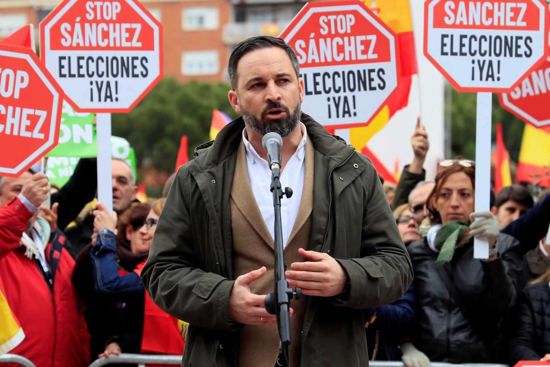 El líder de Vox, Santiago Abascal, en la manifestación de Colón en Madrid contra Pedro Sánchez.