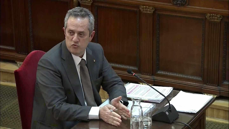 Joaquim Forn, ex ,conseller, de Interior, declarando este jueves al fiscal en el Tribunal Supremo.