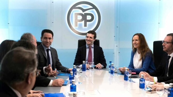Pablo Casado preside la Junta Directiva del PP.