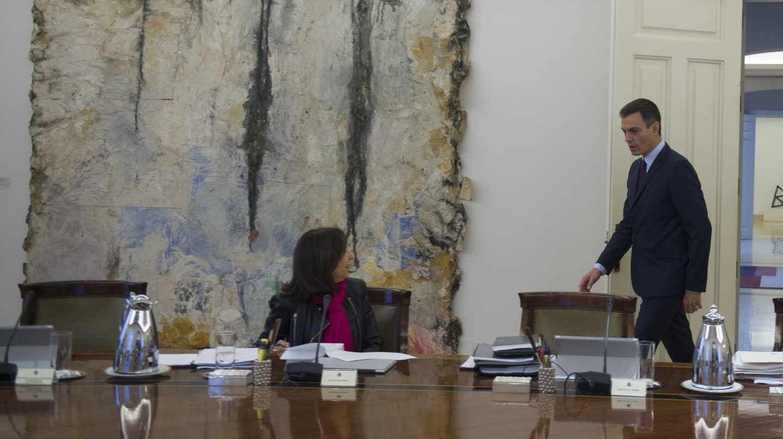 El presidente del Gobierno, Pedro Sánchez, en la reunión del Consejo de Ministros en la que se ha decidido el adelanto electoral.