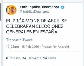 La embajada de España en Dinamarca anuncia la fecha electoral antes que Pedro Sánchez.
