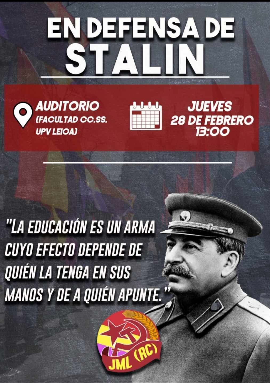 """Cartel de la jornada """"En defensa de Stalin"""" que el jueves acogerá la UPV."""