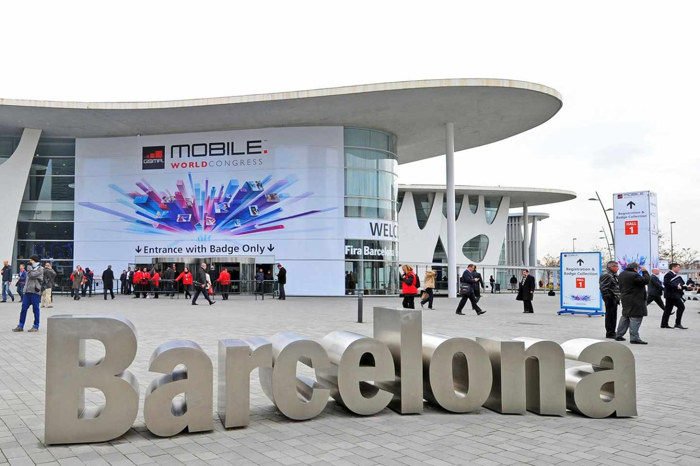 Entrada al Mobile World Congress de Barcelona.